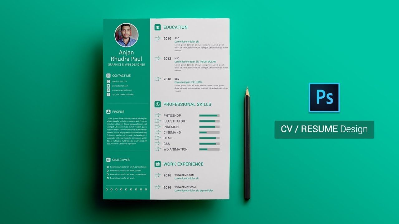 How To Create A Cv Resume In Photoshop Photoshop Tutorial Create A Cv Resume Design Resume Design Free