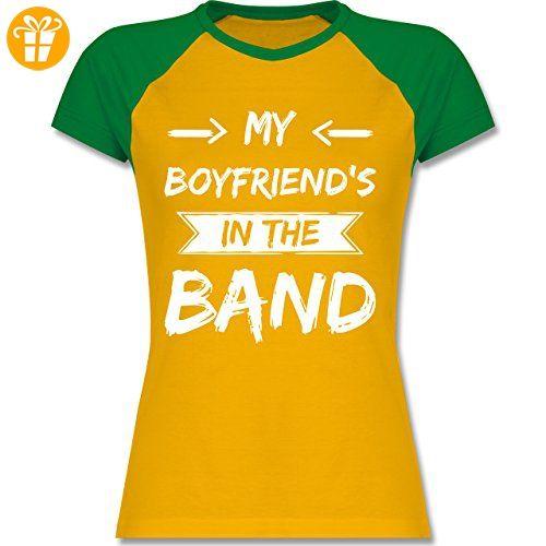 Statement Shirts - My boyfriend's in the band - S - Gelb/Grün - L195