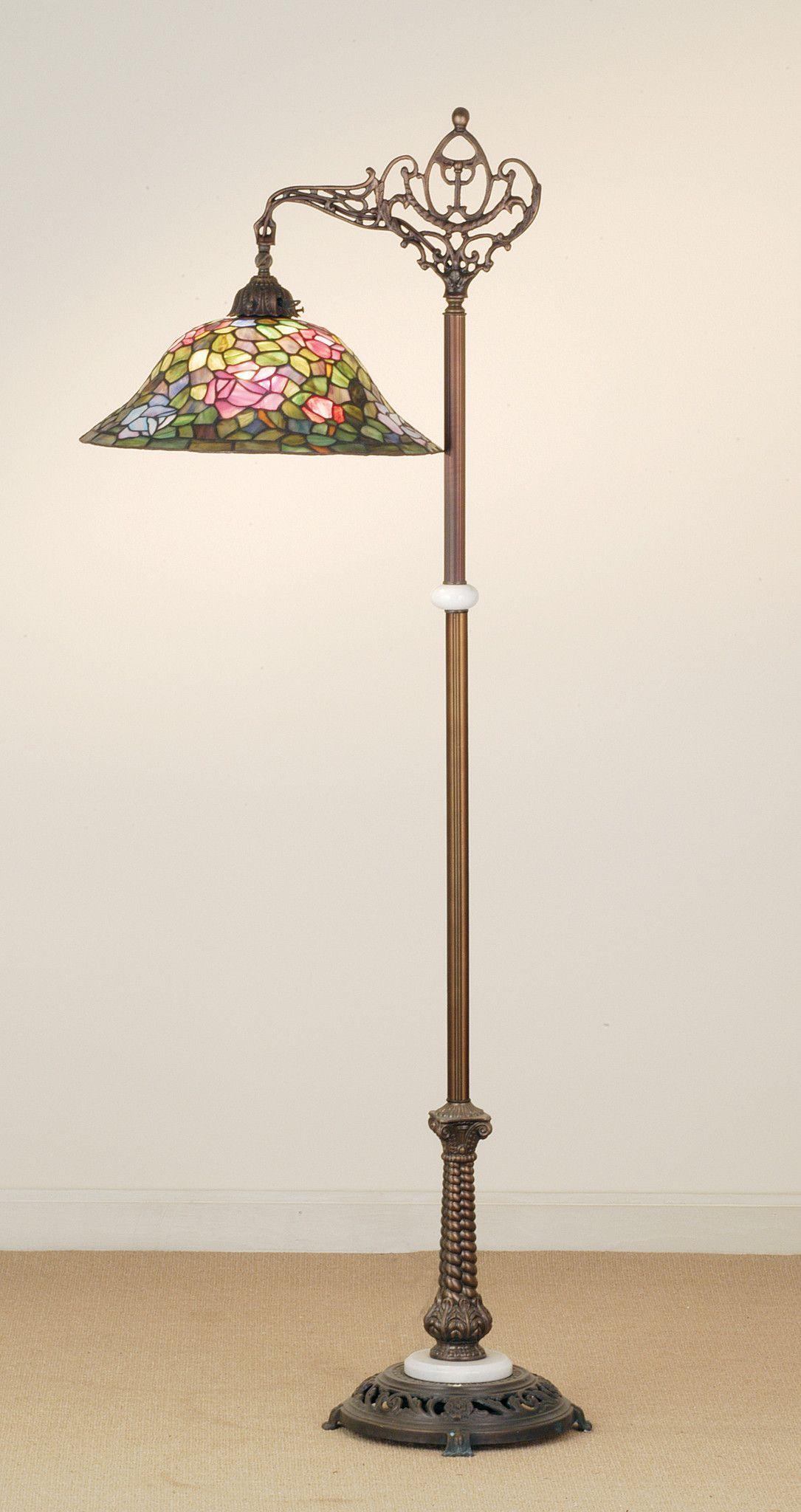 59h tiffany rosebush floral bridge arm floor lamp aloadofball Image collections