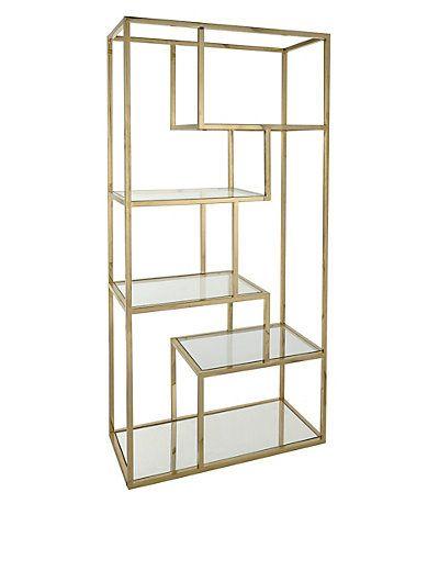 antique pin bookcase etagere tyler black glass brass shelf