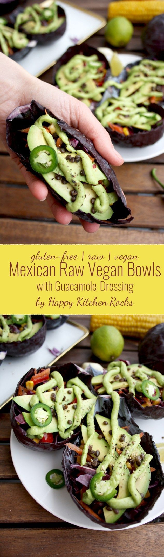 Mexican raw vegan bowls with guacamole dressing served in cabbage summary salads drinks and many other food items can be prepared using raw food and with easy to make raw food recipes forumfinder Image collections