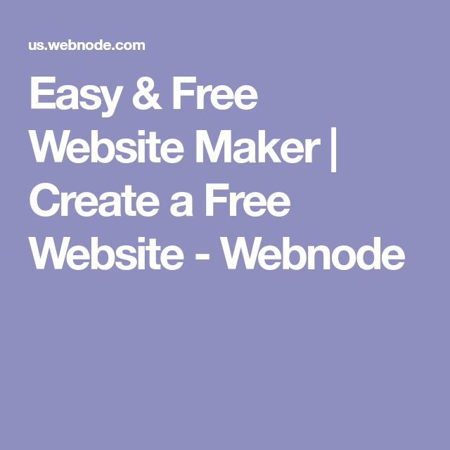 Easy & Free Website Maker | Create a Free Website - Webnode