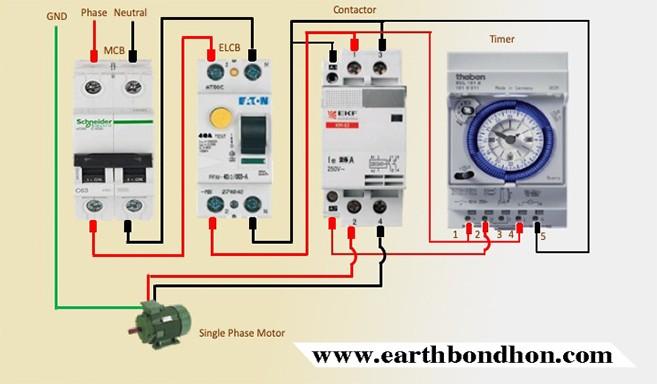 Single Phase Motor Starter With Timer Diagram Earth Bondhon Timer Motor Single