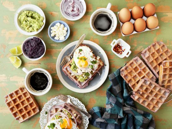 These purple sweet potato waffles are the perfect mix of sweet and savory, topped with mashed avocado and a fried egg on top. It�¢??s like avocado toast meets waffles and it�¢??s amazing.