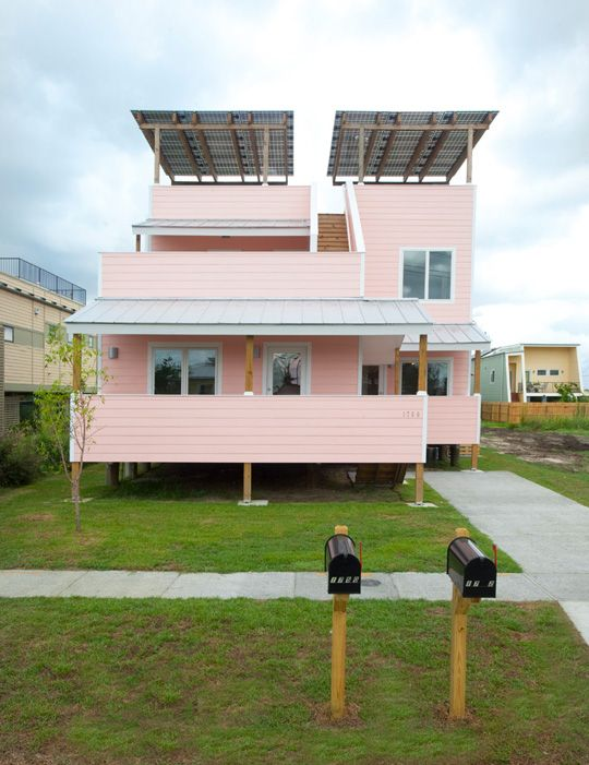 part of the Make it Right project in New Orleans with Brad Pitt.  The duplex is pink on one side and purple on the other.  Cool.