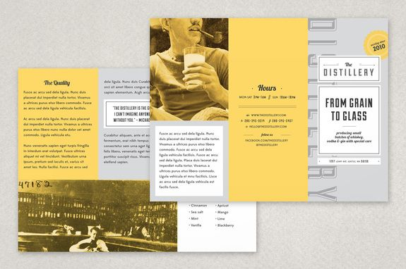 Upscale Bar Brochure Template - This Retro Inspired Design Uses A