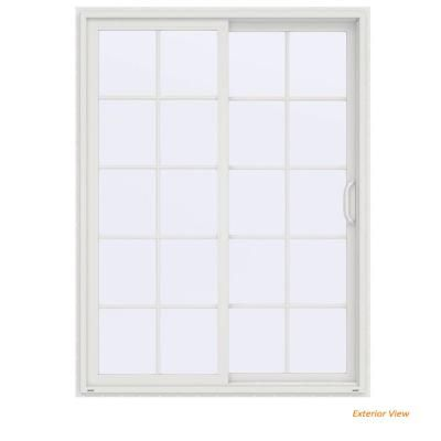 Jeld Wen 60 In X 80 In V 4500 Contemporary White Vinyl Right Hand 10 Lite Sliding Patio Door Sliding Patio Doors Patio Doors White Vinyl