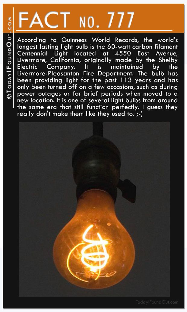 Awesome According To Guinness World Records, The Worldu0027s Longest Lasting Light Bulb  Is The 60 Watt Carbon Filament Centennial Light Located At 4550 East  Avenue, ...
