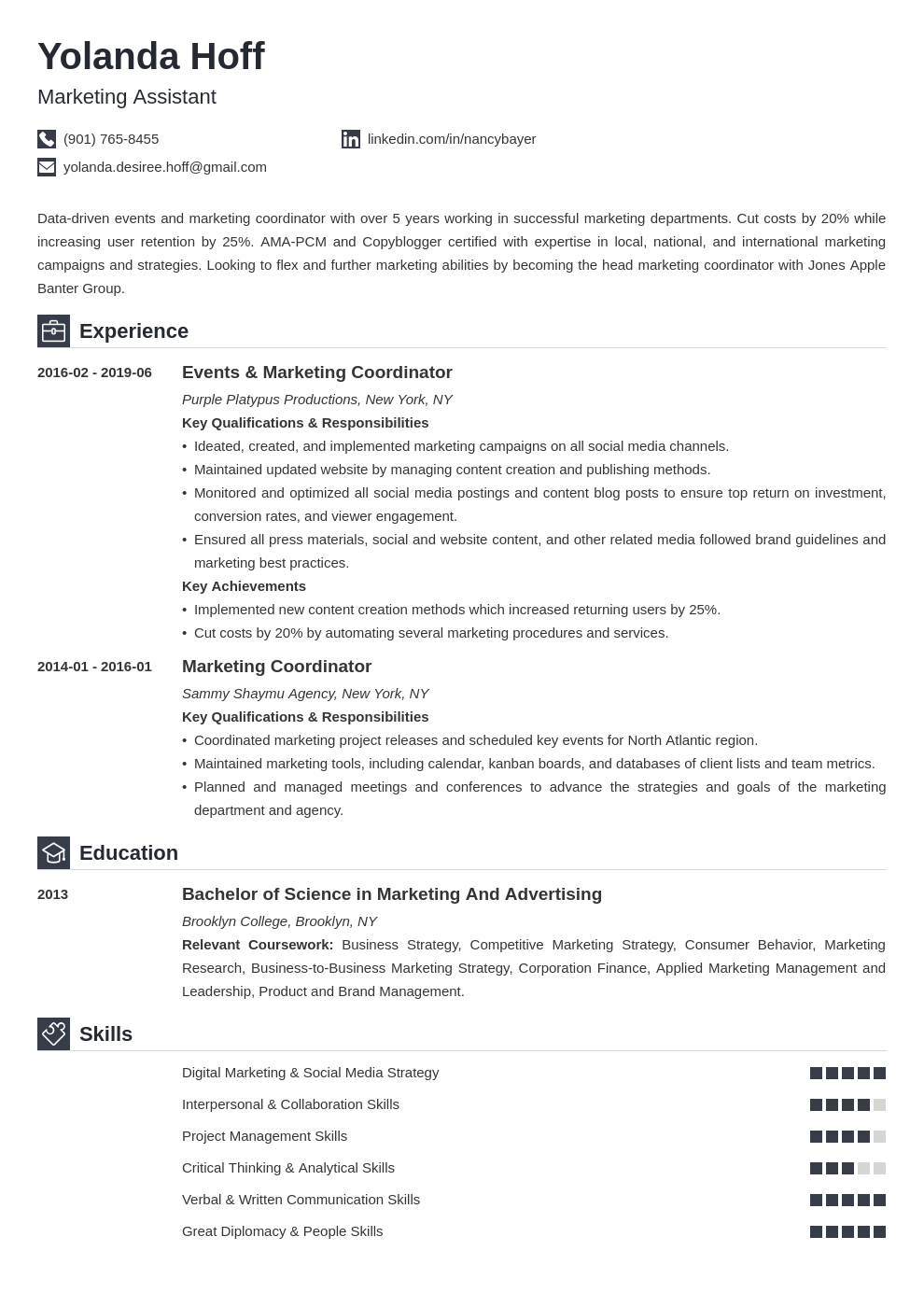 Marketing Coordinator Resume Example Template Iconic Resume Examples Job Resume Examples Virtual Assistant