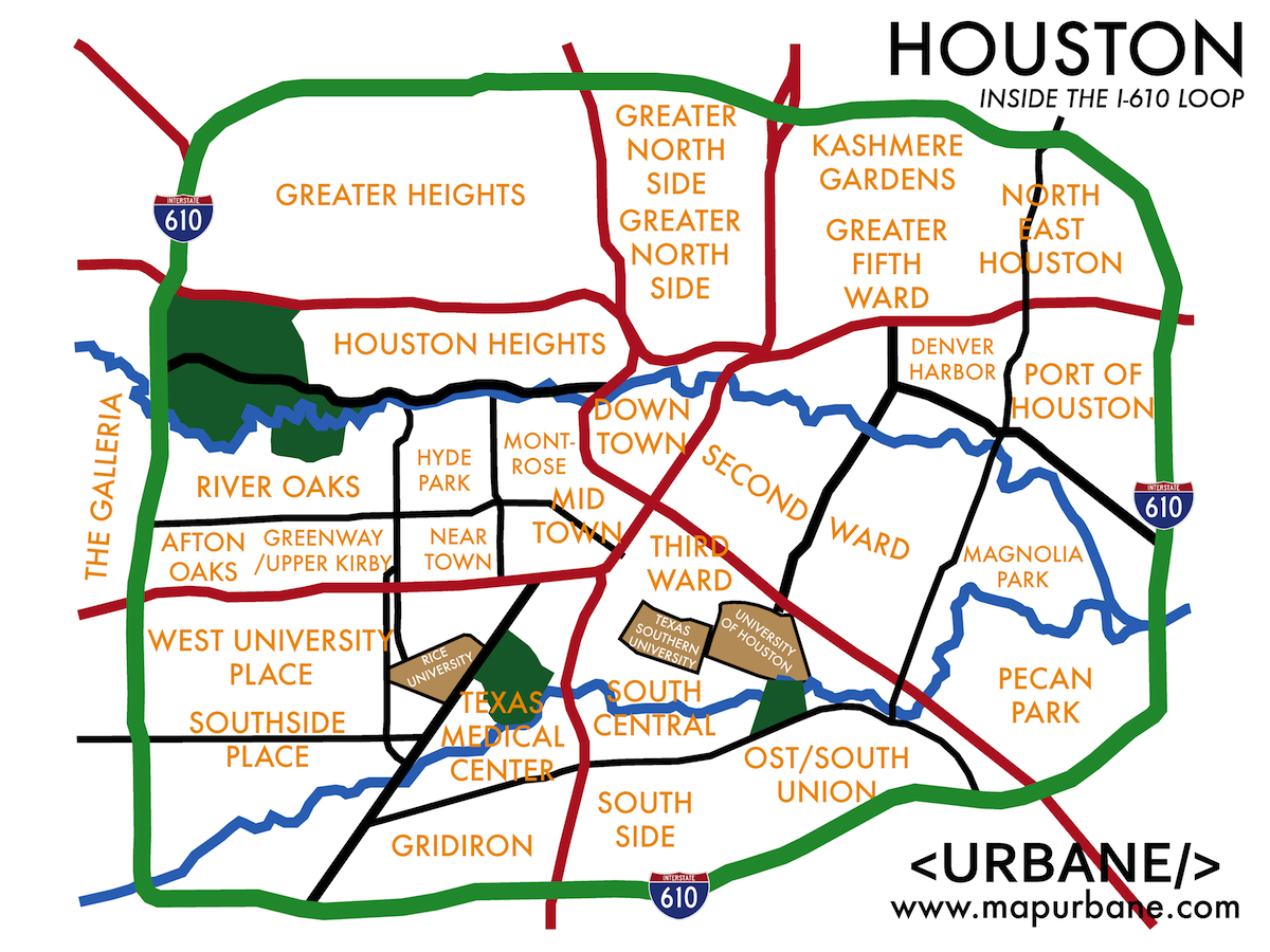 A Useful Map Of Major Neighborhoods Historic Houston Pinterest - Printable map of houston