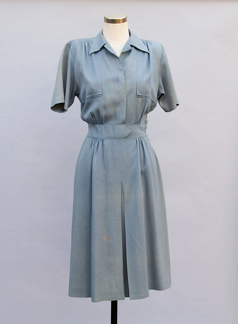 1940s Wartime R&K Original slate blue day dress S