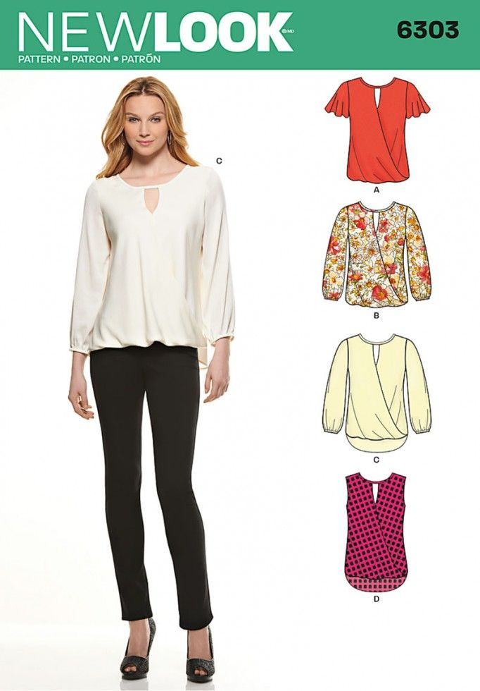 New Look Ladies Easy Sewing Pattern 6303 Drapey Summer Tops   Sewing ...