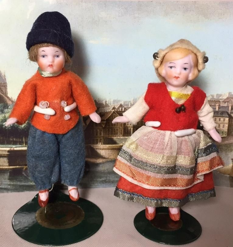 Darling c1920s German All Bisque Hertwig Boy & Girl Dollhouse Doll from memoriesofthingspasttoo on Ruby Lane