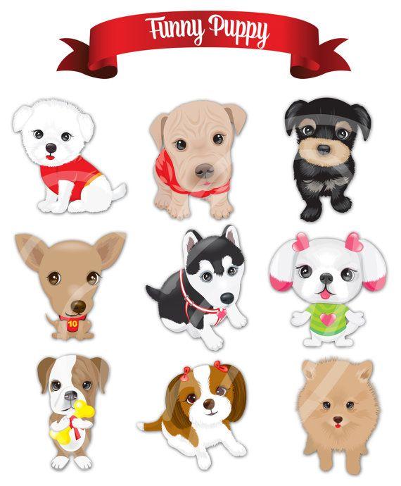 Dog printable. Cartoon dogs hand drawn