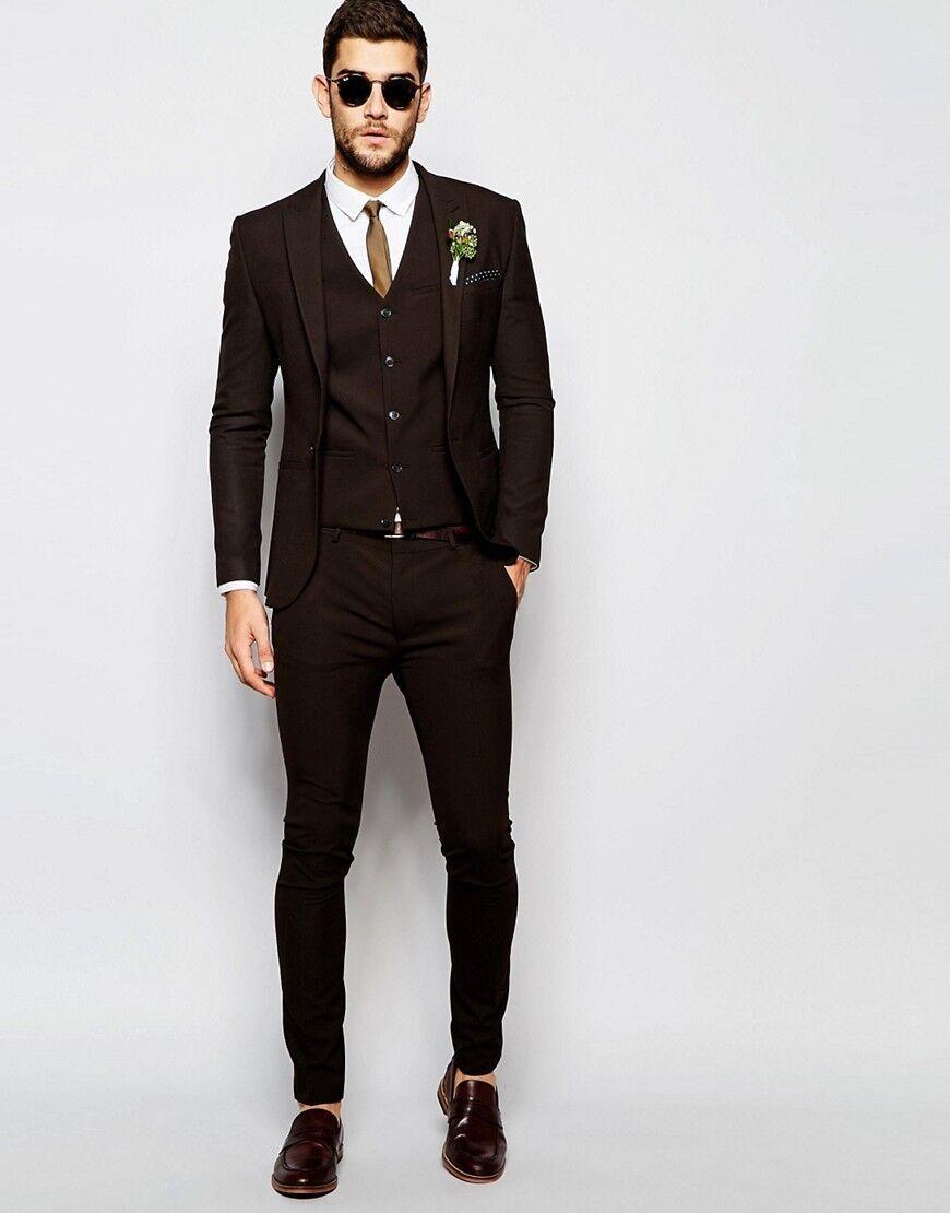 4b7b06552 Moda Brown Novio Esmoquin Padrinos de boda para Hombres Trajes de Fiesta de  La Boda Del