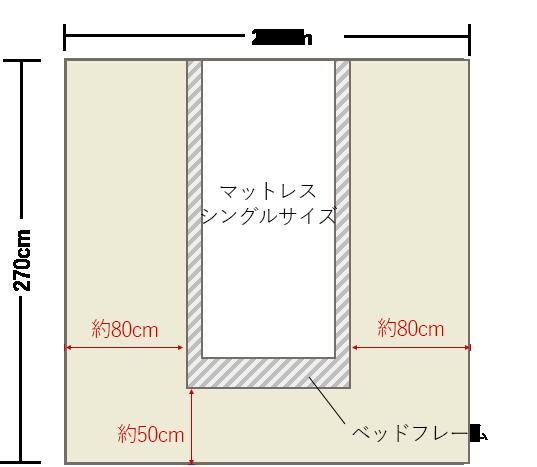 4畳半の寝室の中央にシングルベッドレイアウト 4畳 レイアウト 8畳