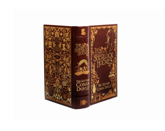 Sherlock Holmes Detective Hollow Book Gift Box Money Safe Secret Storage Booksafe Handmade Large Tan