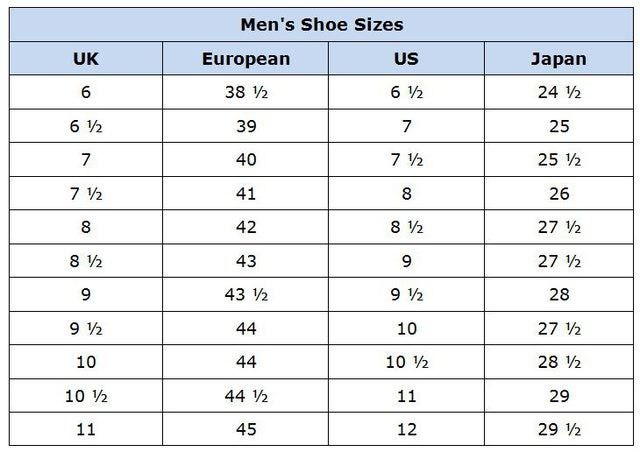 Clothing Size Conversion Charts Men S Shoes Sizes