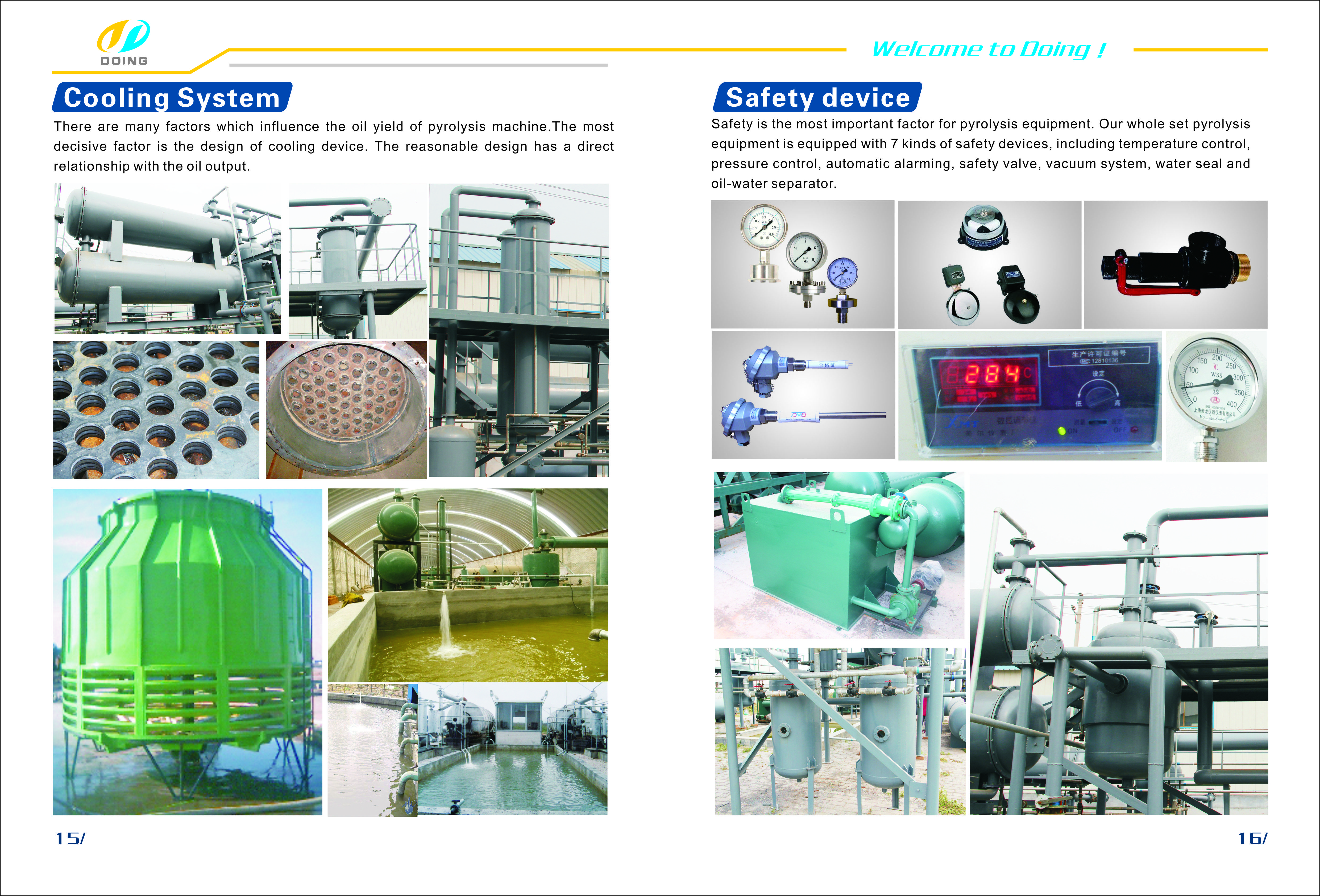 DOING pyrolysis plant are designed with 3 steps cooling