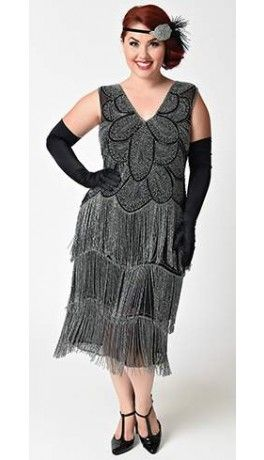 Unique Vintage Plus Size Black Silver Beaded Gigi Chiffon Fringe