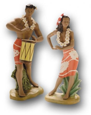 Hawaiian Drummer Boy Graceful Dancer Beach Bride And Groom Cake
