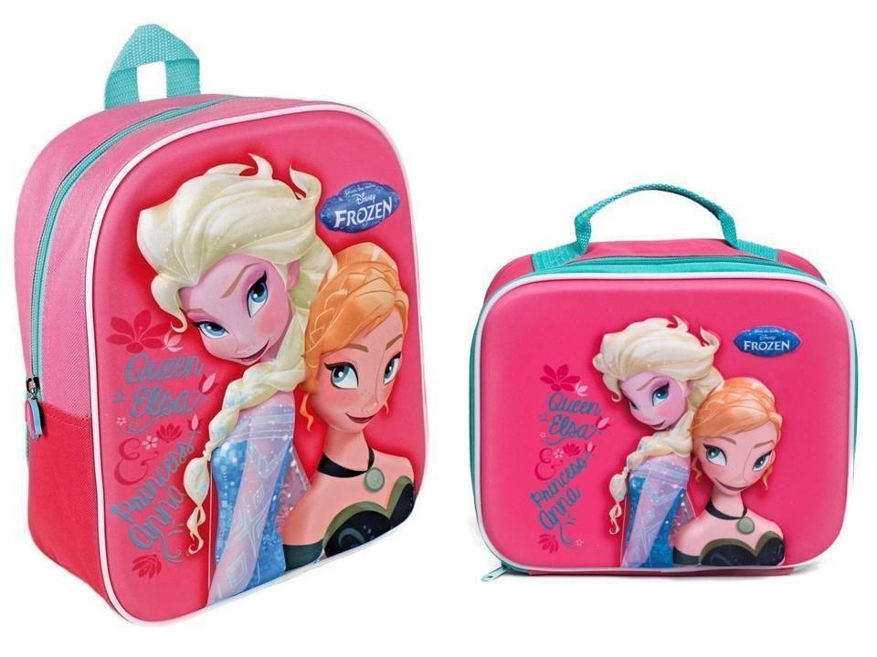 Official Disney Frozen Kids 3D Elsa Anna School Backpack With Lunch ... d1535ea7a2197