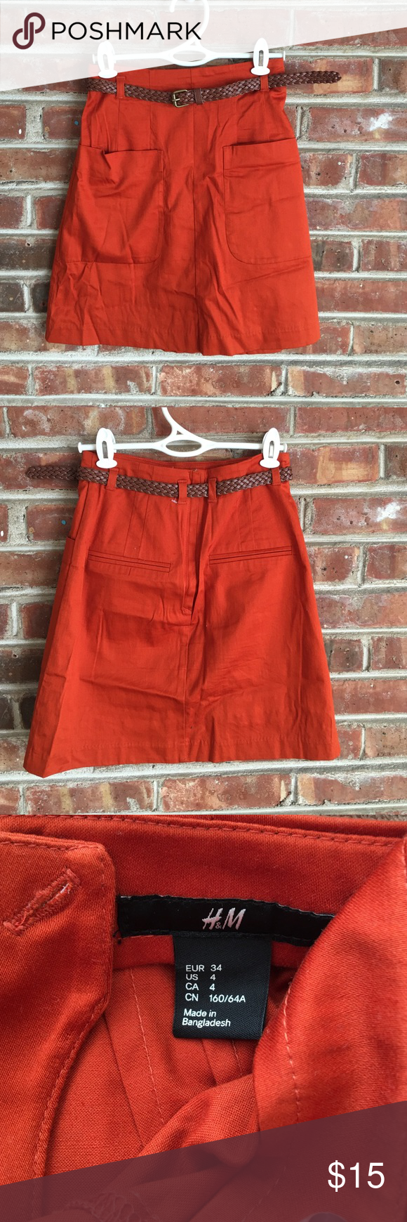 {last chance item} H&M high waisted A-line skirt 4 Beautiful orange high-waisted A-line skirt with front pockets. Perfect for fall with cognac boots! Can be worn casually or in the office. Has functional front pockets, hidden back zip, includes belt. Has never been worn - new without tags and no defects. Please note that this is a size 4, but runs small. Measures approximately 12.5 inches across the waist and approximately 18 inches long. No modeling and no trades. Sorry, slightly wrinkled…