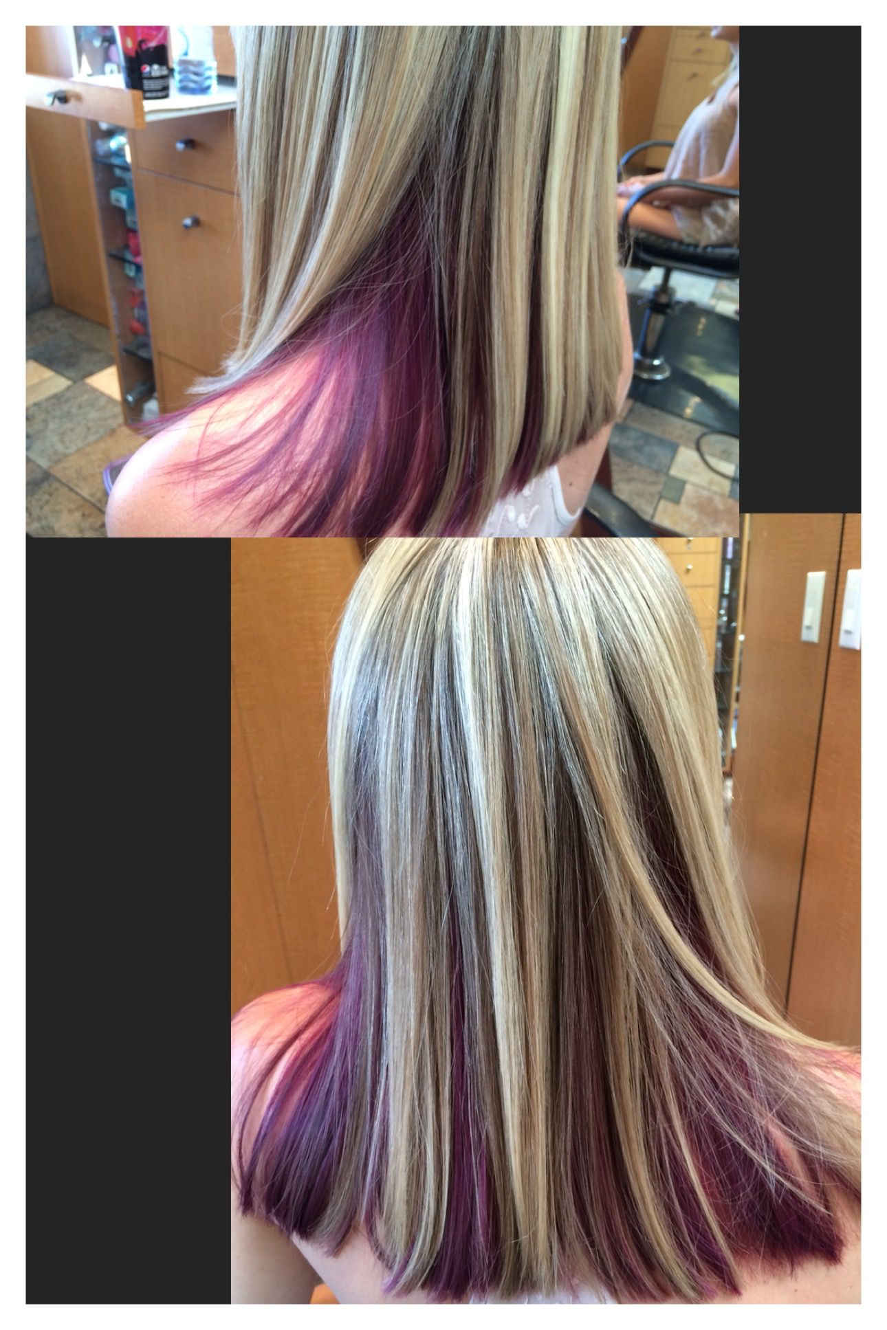 Purple hair with blonde underneath