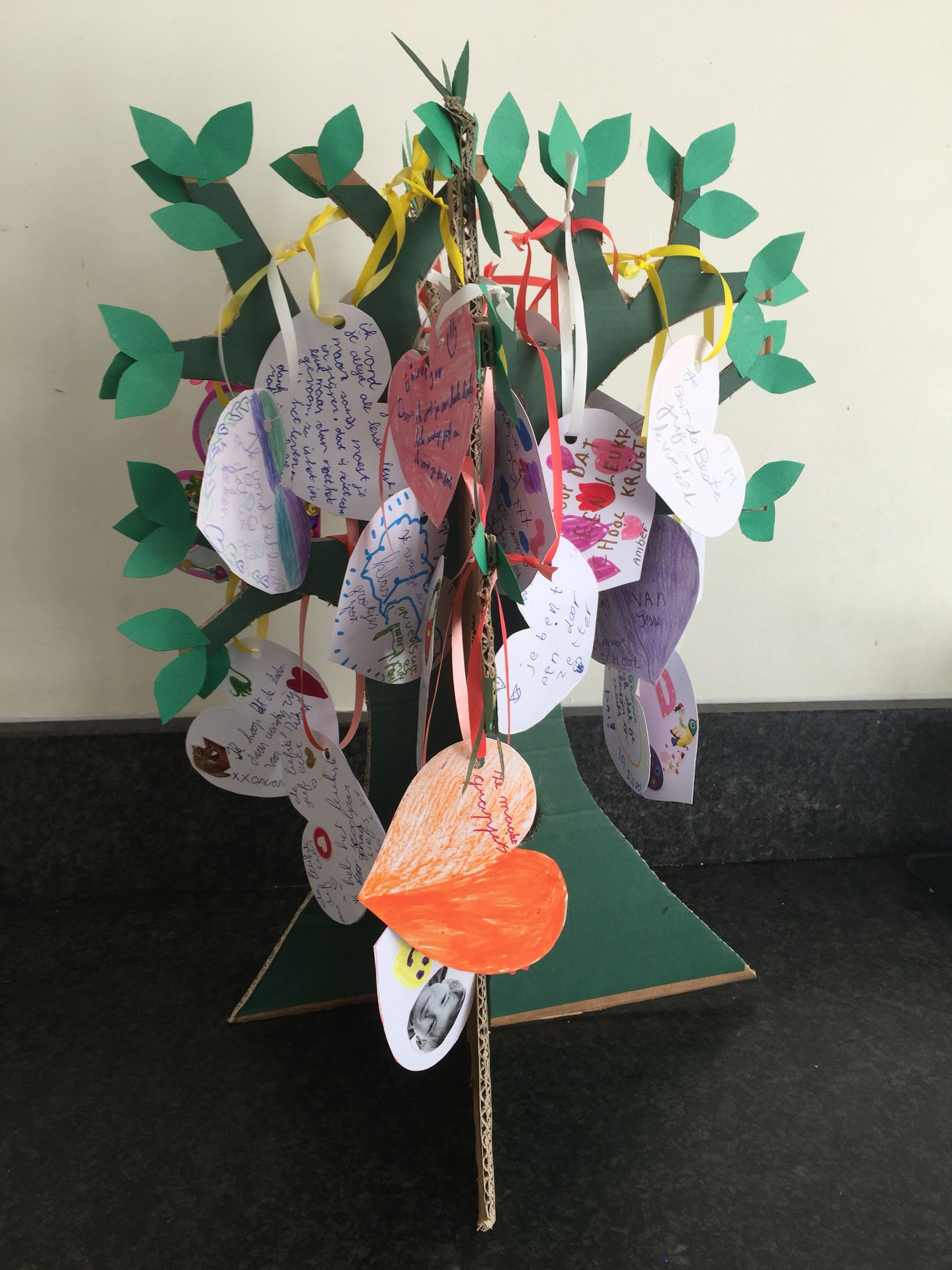An end of Year 'good bye' for the teacher tree with messages from the students what they will remember about the teacher and what their wish is for next year😁