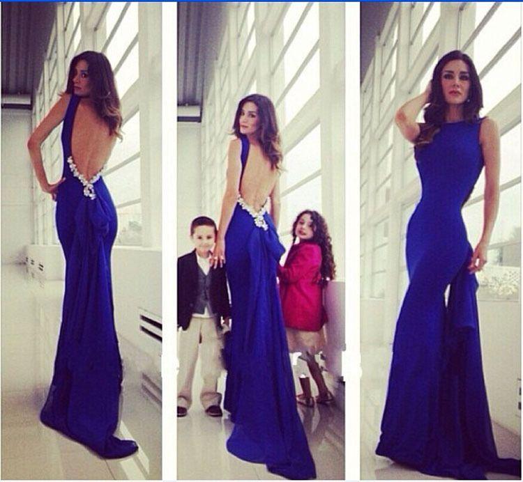 Barato 2014 elegante vestido longo festa formal azul fishtail ...