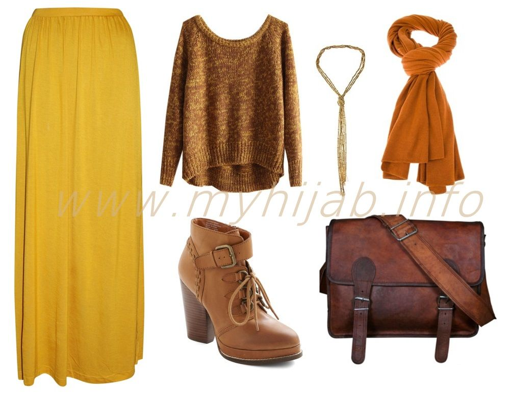 Mustard Tops and Maxi Skirts Outfit Combination Ideas | Hijabi Styles and Outfits | Pinterest ...