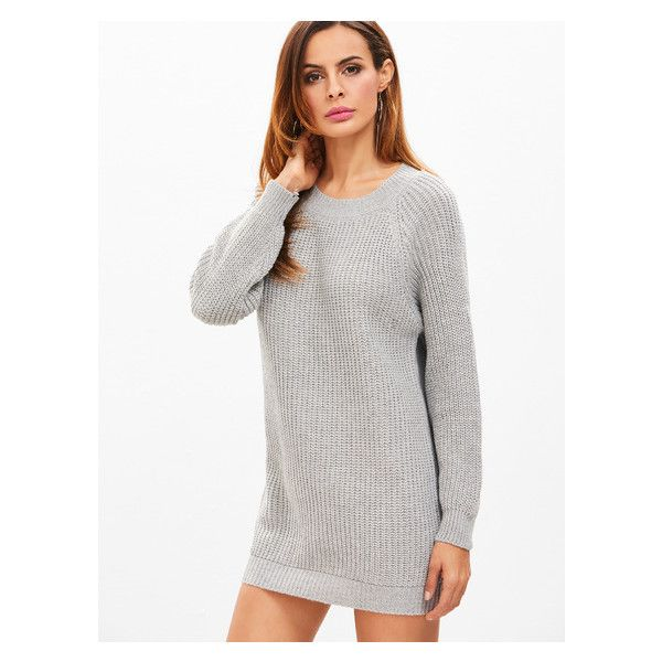 bbd279fc5a Heather Grey Raglan Sleeve Sweater Dress (22 BAM) ❤ liked on Polyvore  featuring dresses