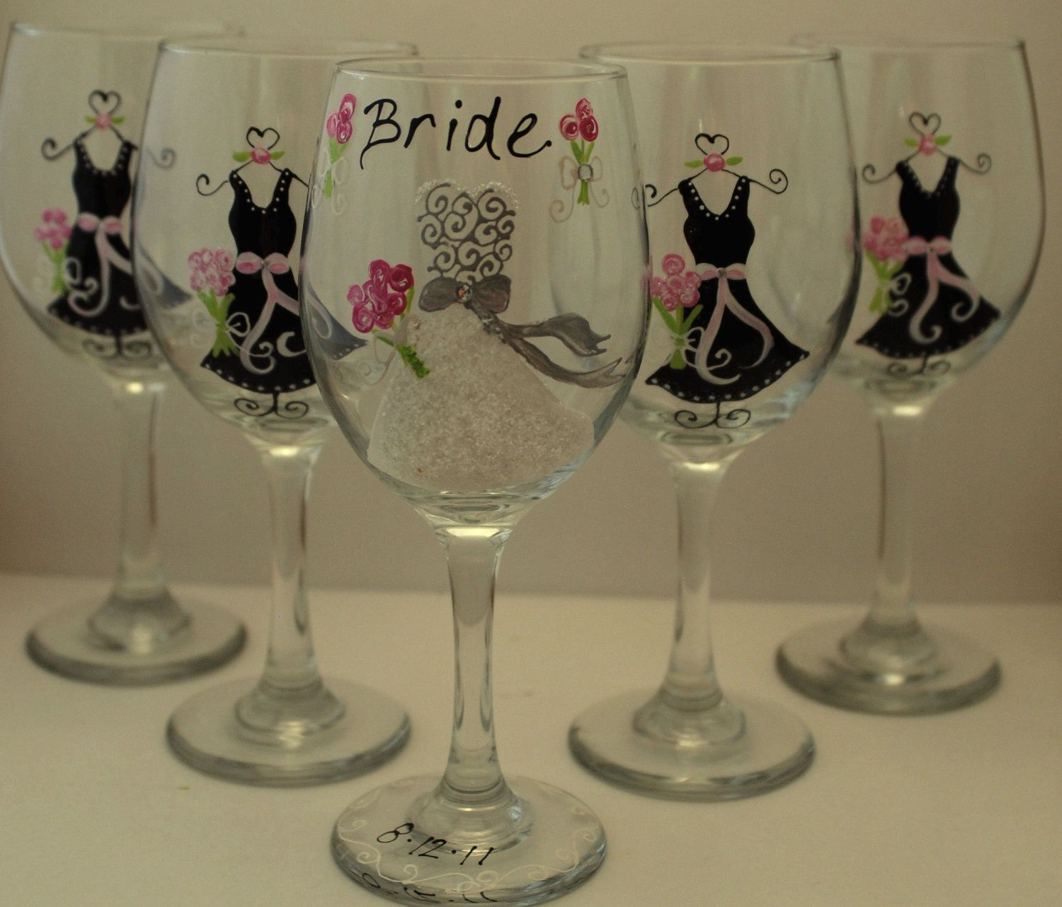 How to decorate wine glasses for bridesmaids - Custom Hand Painted 5 Wedding Wine Glasses Bridal Party And Unique Bridesmaid Glasses Wedding Favor Gift Each