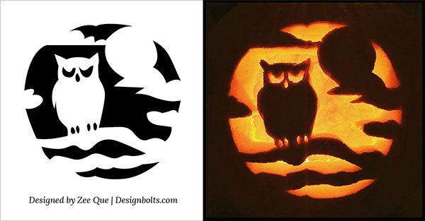 Free owl scary pumpkin pattern 2015 diy fun stuff for Spooky owl pumpkin stencil
