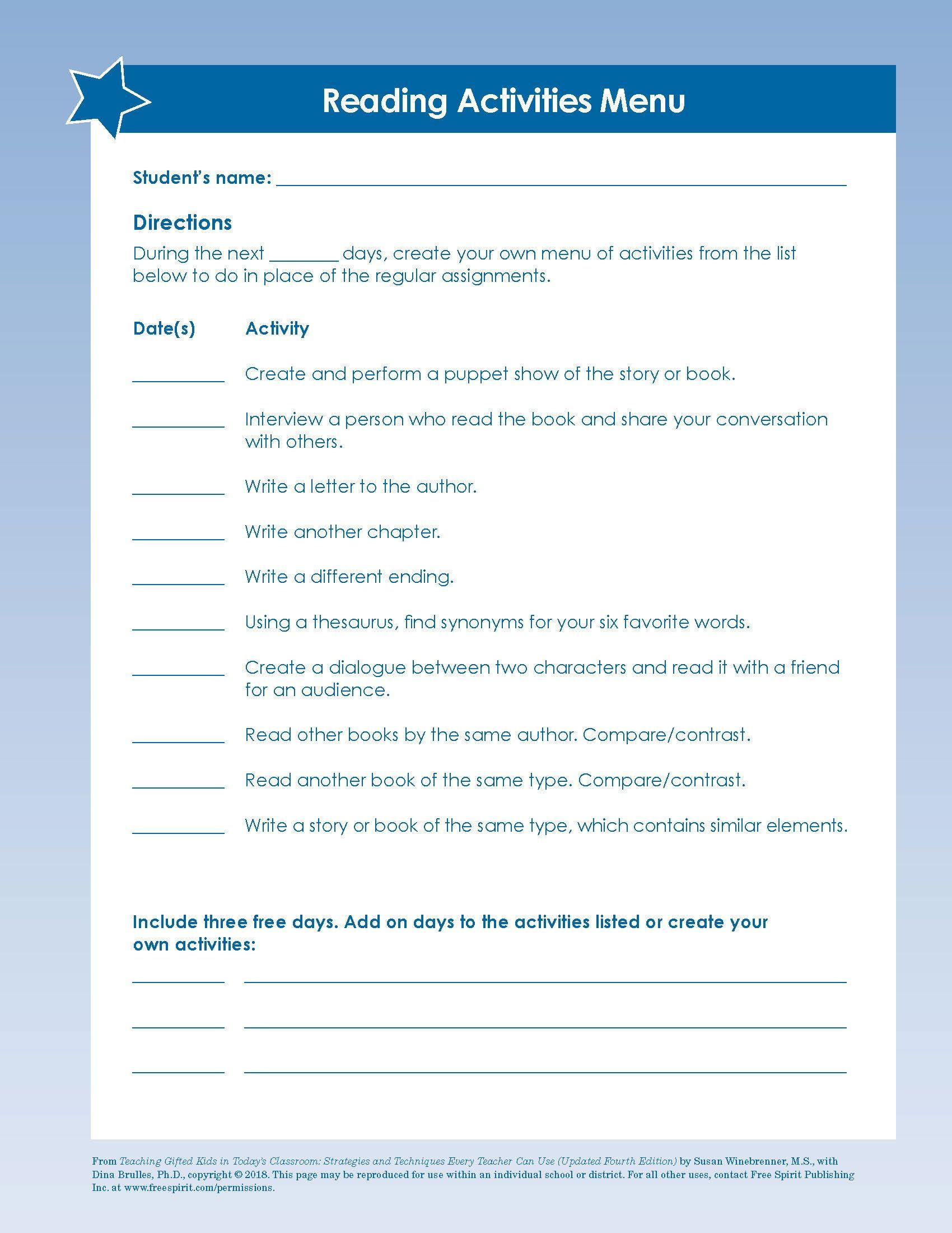 Free Download Reading Activities Menu A Printable