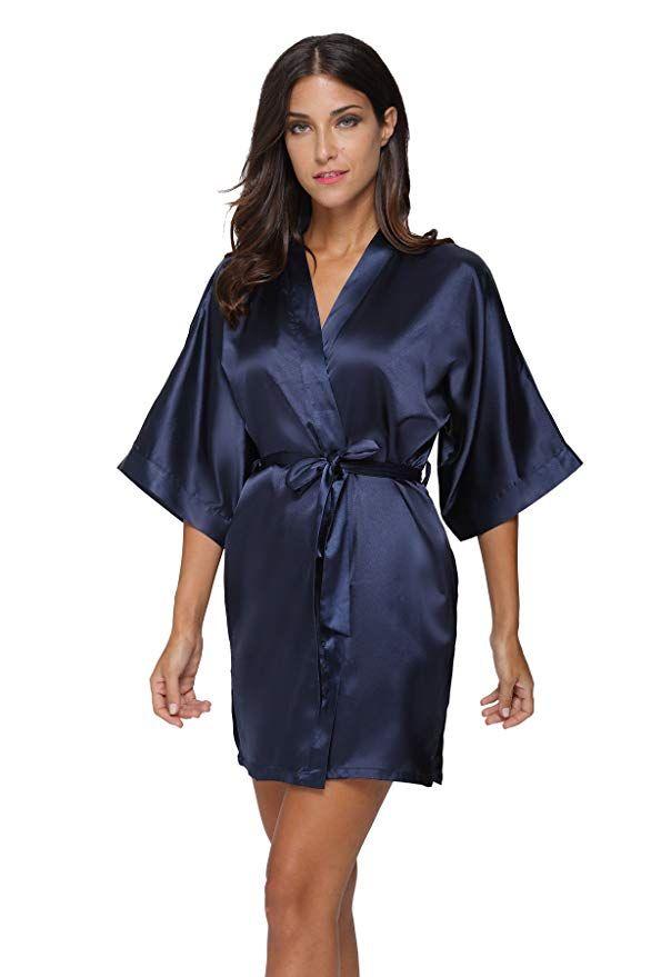 b21093724a The Bund Women s Pure Colour Short Satin Kimono Robes with Oblique V-Neck  at Amazon