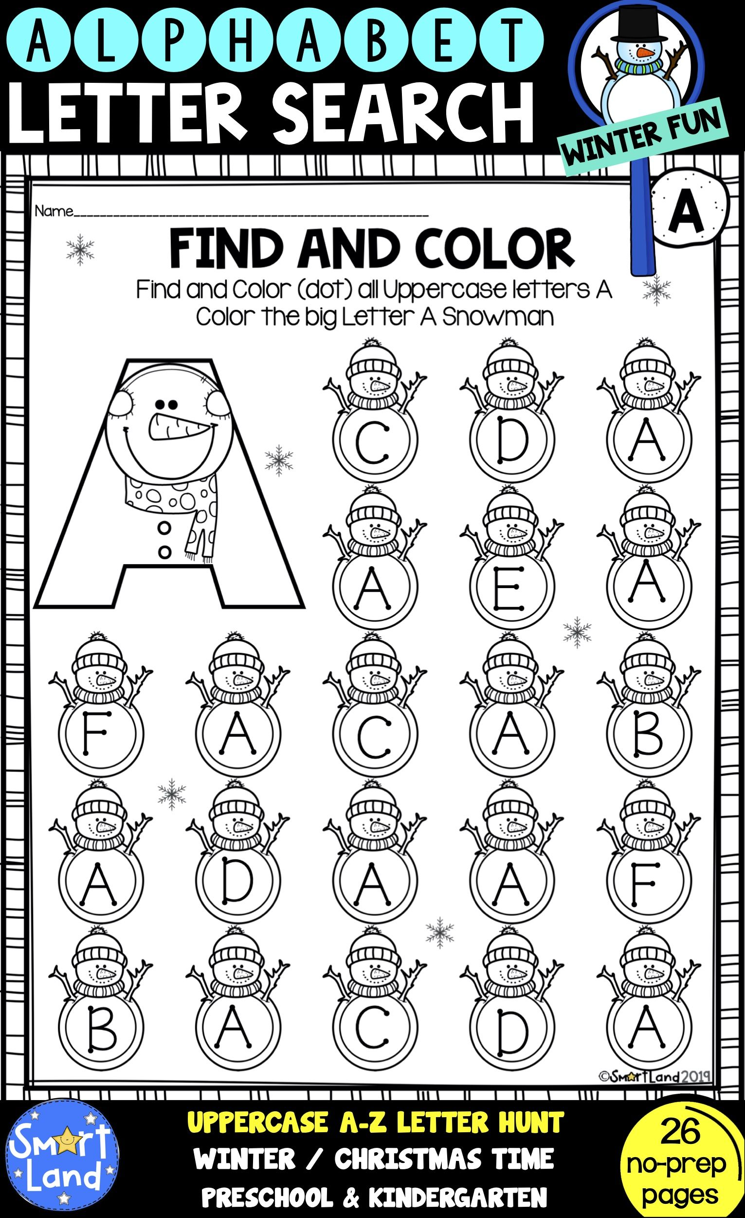 Alphabet Practice Letter Search Snowman