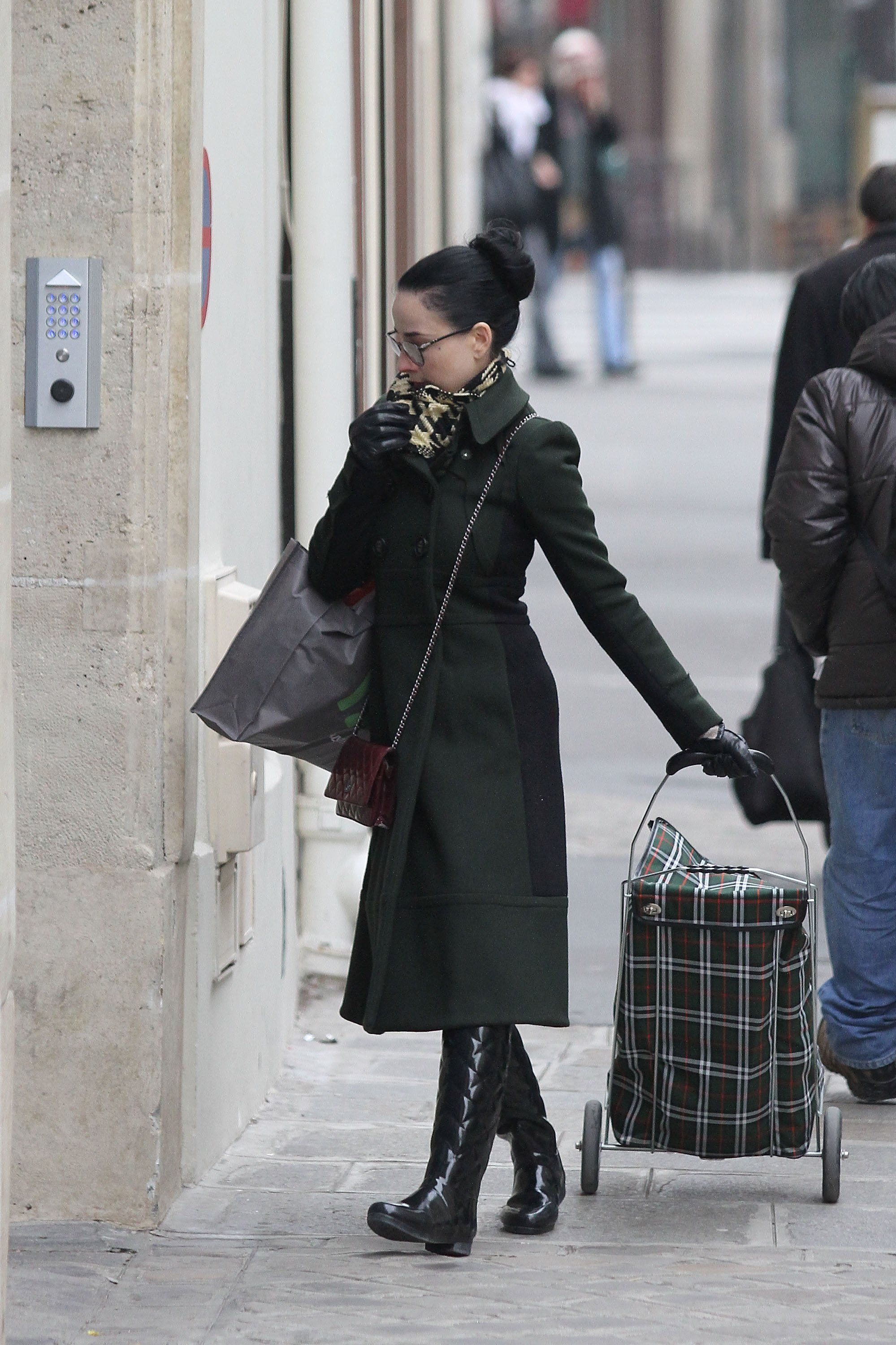 DVT and her shopping trolley. SHOPPING TROLLEY!! Very chic it is too - nothing better for shopping at a street market.