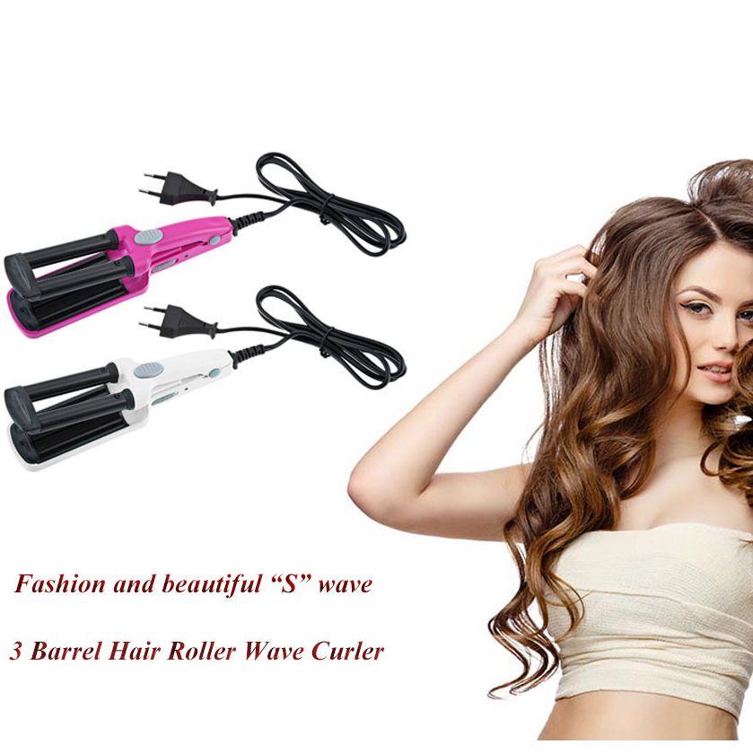 ファッション3バレル髪カール鉄フラットセラミックアルミ素材ワイヤレス充電電源コード尾翼ローラー波curlertool