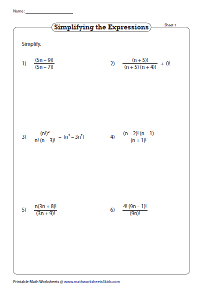 Simplifying Factorial Expressions Printable Math Worksheets Math Worksheets Worksheets