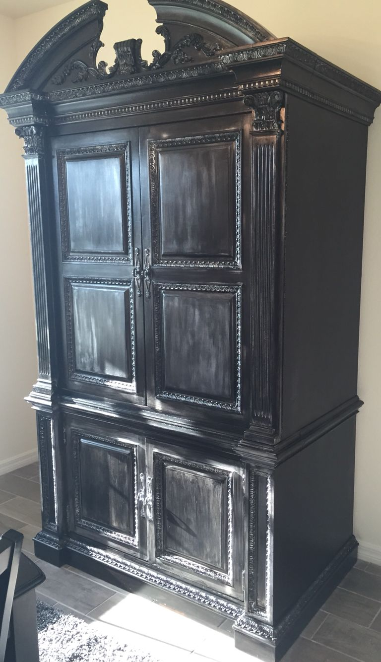 Beau DIY Armoire Distressed Black Silver