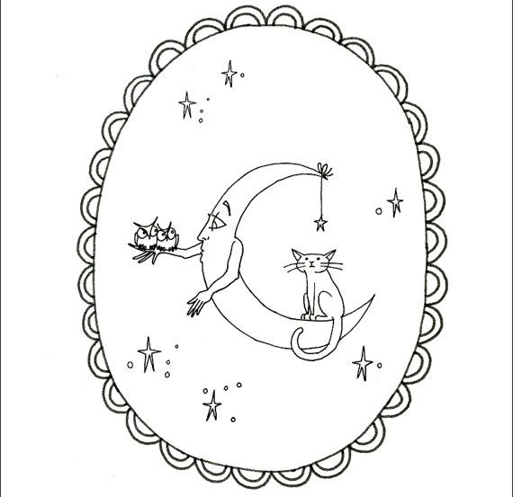 Halloween Embroidery Pattern Printables Moon Man With Cat and Owls ...