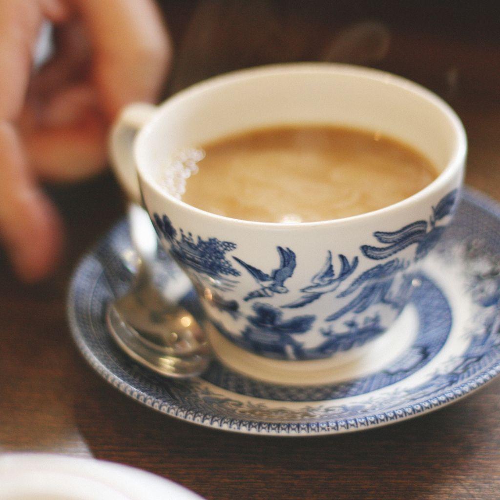 Coffee milk in a pretty mug