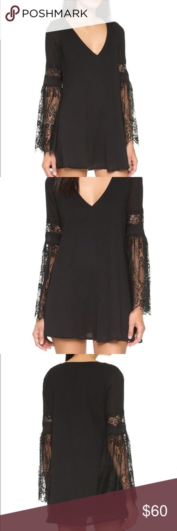 l*space Tunic/Swim Suit Cover Up Small, black crepe fabric and lace tunic. Perfect to use as a beach cover up or worn alone as a dress. Machine or hand wash - worn once. Purchased online from Shopbop. l*space Swim Coverups