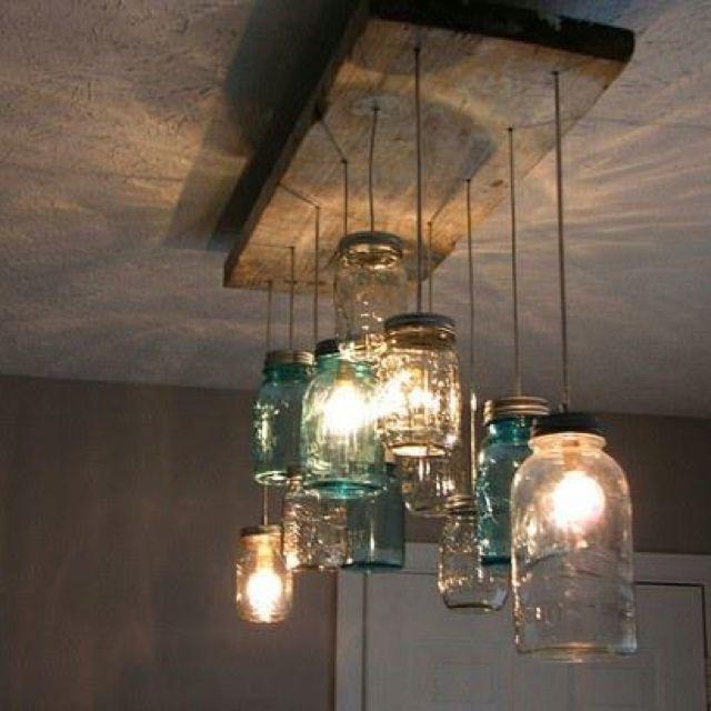 Lighting Idea From Home Depot Very Unusual Like It A Lot Diy Light Fixtures Mason Jar Chandelier Jar Chandelier
