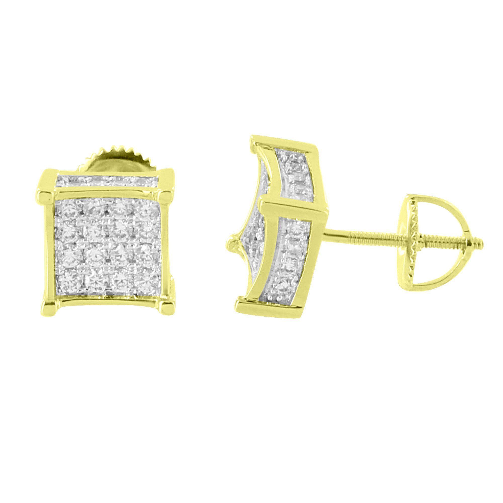 Men Women/'s 14K Gold Tone PRONG SET Screw Back Earring Simulated Lab Diamond