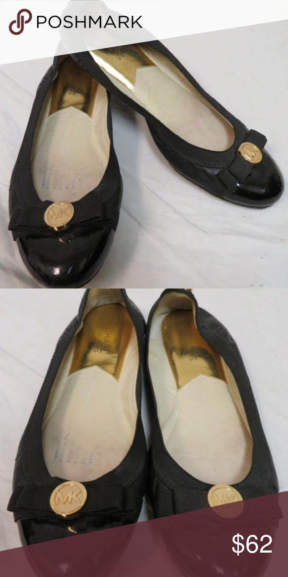 presenter super billigt någonsin populär MICHAEL KORS Dixie Ballerina Flats Sz 8 Black leather ballerina ...