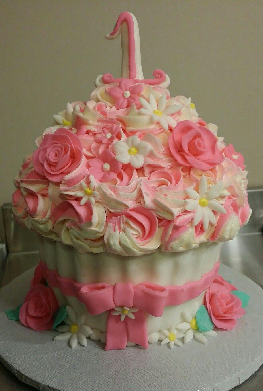 Giant Cupcake One Year Old Smash Cake 1 Birthday
