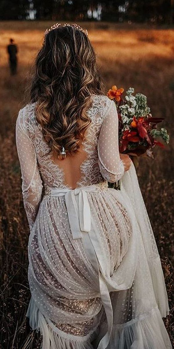 Long Sleeve V-neck Polka Dot Lace Open Back Boho Bridal Gown TN207 Long Sleeve V-neck Polka Dot Lace Open Back Boho Bridal Gown TN207