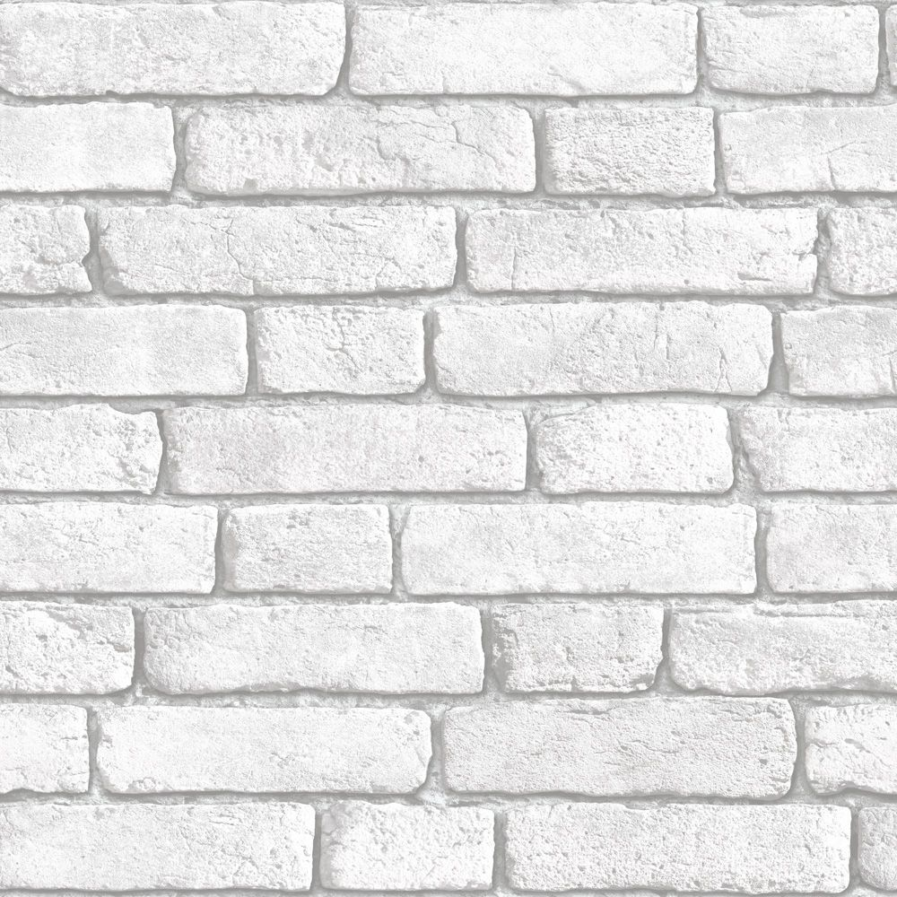 Muriva Brick Vinyl White Wallpaper | Departments | DIY at B&Q (Feature wall  in living